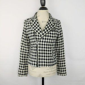 Ralph Lauren   Black White Houndstooth Knit Jacket